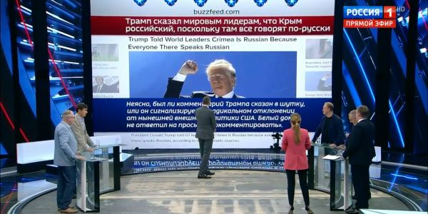 'Trump is ours!': Russian state TV celebrates Trump's suggestion that Crimea is part of Russia