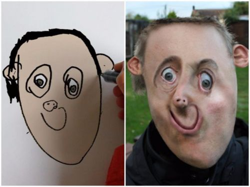This dad uses Photoshop to turn his kids' drawings into reality - and the results are terrifying