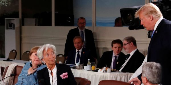 Trump showed up late to a G7 meeting on gender equality and looked like he was 'dozing off'
