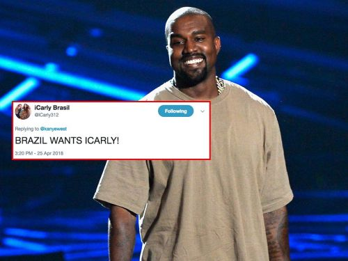 An 'iCarly' fan account is trying to get Kanye West to bring a live 'iCarly' show to Brazil, for some reason