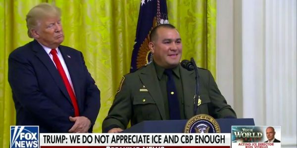Trump singled out a Hispanic US Border Patrol agent for speaking 'perfect English' and misnamed the agency in bizarre ceremony remarks