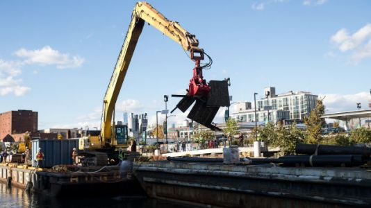 Dredging Barge Full Of Sludge Sinks Into The Incredibly Toxic Gowanus Canal