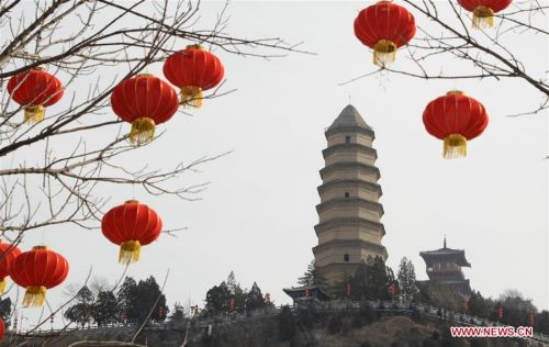Red lanterns hung up for upcoming Spring Festival