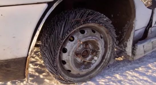 Here's What Happens When You Drive a Car With Tires Made of 3,000 Nails