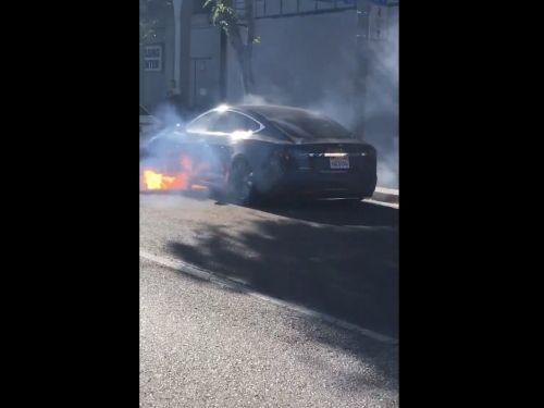 Actor Mary McCormack shared a video of her husband's Tesla catching fire in LA