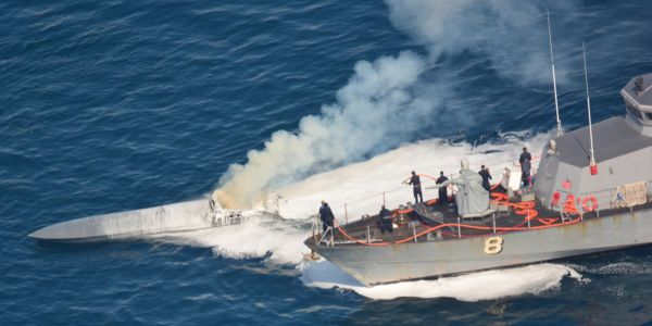 The US Coast Guard and Navy pulled a half-ton of cocaine from a burning go-fast boat in the Pacific
