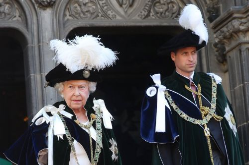 Prince William and the queen turned heads in matching outfits made of velvet and giant feathers at a royal event