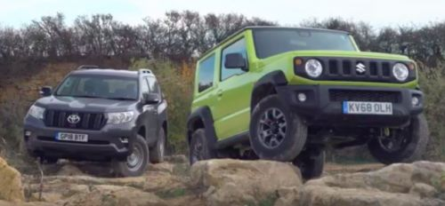 Watch The 2019 Suzuki Jimny Go Toe-To-Toe Off-Road With a Toyota Land Cruiser Utility