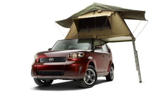 """I regret to inform all of you """"overlanders"""" that Scion was doing the roof top tent thing at SEMA all"""