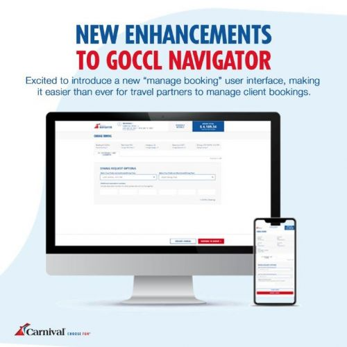 Carnival Cruise Line Introduces New 'Manage Booking' User Interface to GoCCL Navigator