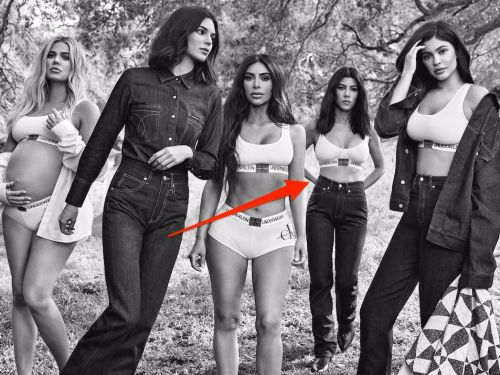 People think Kourtney Kardashian's arm was Photoshopped in the new Calvin Klein ad - but the brand says it's just the lighting