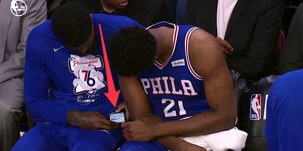 A 76ers player was seen texting on the bench while his team trailed by double-digits in Game 1 of the playoffs