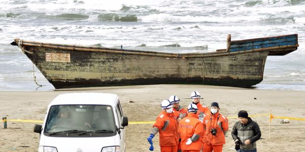 An empty wooden ship washed up in Japan - and it looks like another mysterious North Korean 'ghost ship'