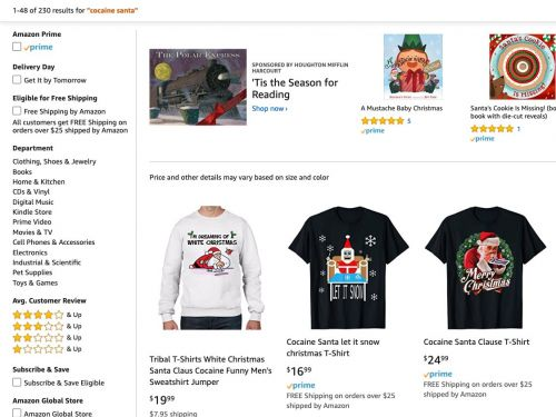The cocaine Santa sweatshirt that landed Walmart in hot water is a best-seller on Amazon, and it reveals a gaping hole in the tech giant's strategy