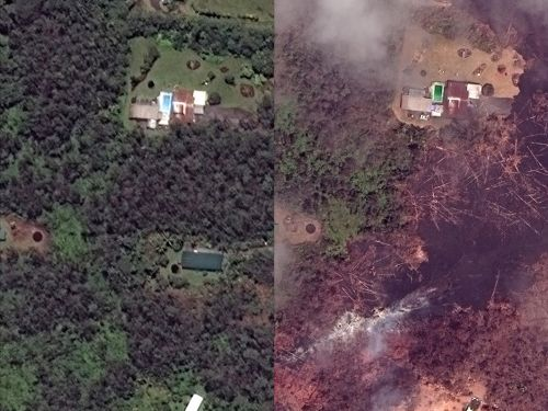 Before-and-after photos show the destruction from the ongoing volcanic eruptions in Hawaii