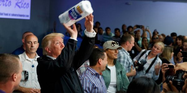 Trump is reportedly upset about old video footage showing him throw rolls of paper towels at first-responders in Puerto Rico