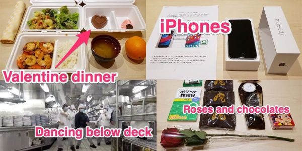 Valentine's Day on the coronavirus-struck Diamond Princess cruise ship involved gifts of iPhones, chocolate, and roses - with masked dancing below-deck