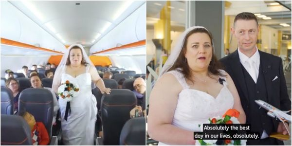 A couple got married on a plane 37,000 feet in the air - 8 years after meeting while playing an online game about airports