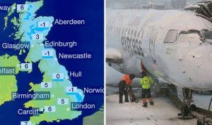 Travel chaos on the cocktails of Arctic freeze in UK