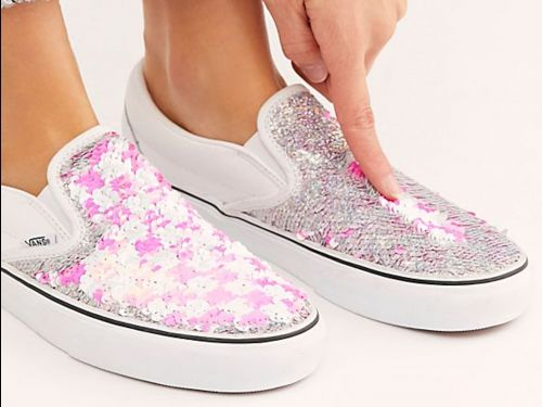 Vans just released double-sided sequined sneakers that are like 2 pairs of shoes in one