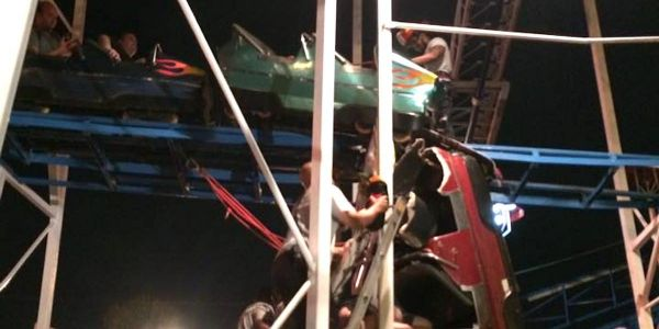 A roller coaster went off the rails, hurled 2 people 34 feet to the ground, and left the other passengers dangling and terrified