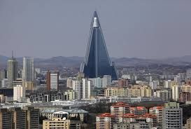 105-story empty Ryugyong Hotel lit up with North Korean propaganda