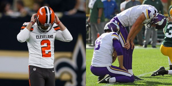 Browns and Vikings take different approaches to waiving their wayward kickers