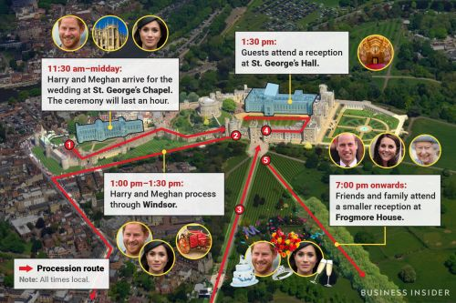 The royal wedding is only a day away - this map of the venue tells you where and when all the big moments will happen