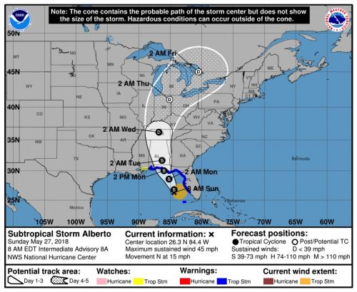 2018's first named storm, Alberto, expected to slam the Gulf Coast with a foot of rain