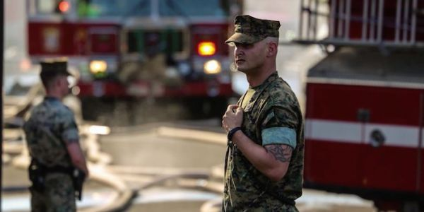 When a fire erupted in a senior citizens' building behind their barracks, here's how the Marines responded