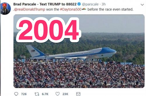 Trump's campaign chief posted a stirring photo of Air Force One at the Daytona 500, but deleted it after realizing it was from George W Bush's trip in 2004