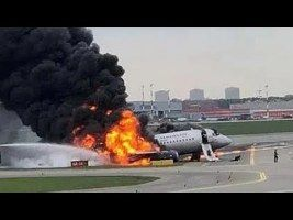 Aeroflot Sukhoi Superjet-100 landed at Sheremetyevo Airport wrapped in flames, at least 40 die