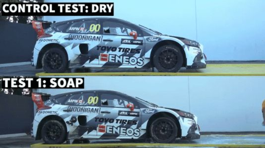 Here's What Happens When You Launch a Rallycross Car in Dish Soap