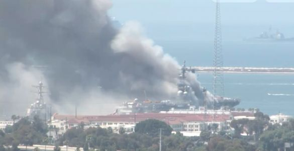 US Navy sailors are being treated for injuries after ship catches fire at San Diego Naval Base
