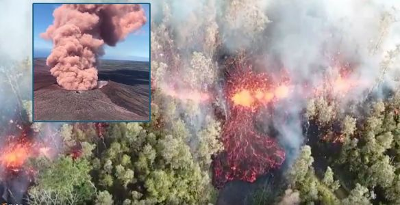 Dramatic video shows lava bursting from the ground in a volcano eruption in Hawaii