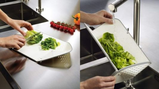 This $12 Cutting Board Makes It Easy to Rinse Ingredients After You Chop Them
