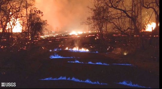 Hawaii's Kilauea volcano is producing eerie blue flames only visible at night, and could cause deadly explosions