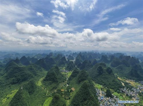 View of Yangshuo County in Guangxi