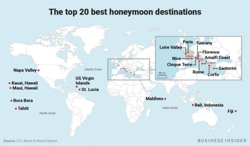 The 20 best honeymoon destinations in the world, according to newlyweds and travel experts