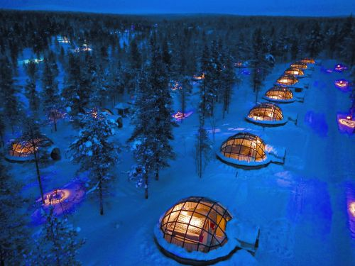 You can see the Northern Lights from a glass igloo at this resort in the middle of Finland's wilderness