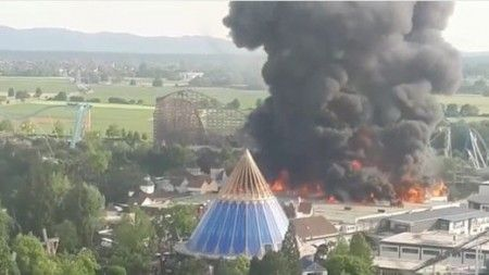 Huge blaze evacuates Germany's biggest theme park, injures 7 firefighters