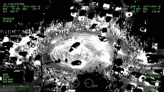 Here's What an Illegal Sideshow Looks Like From a Helicopter's Thermal Camera