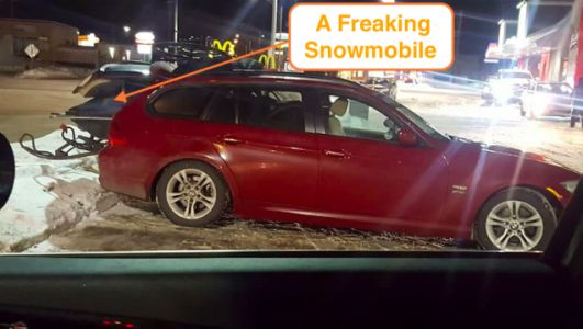 Hero Transports a Freaking Snowmobile in Their BMW 3 Series, Proves Wagon Superiority