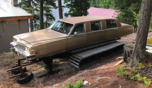 A Canadian Turned a Cadillac Brougham Limousine Into a Snowmobile and It's Glorious
