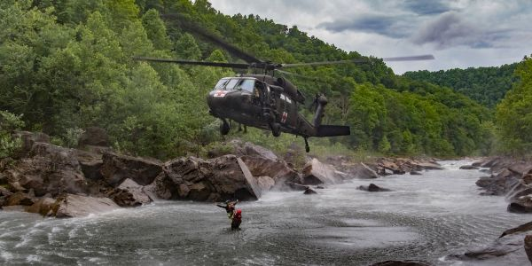 Intense video shows West Virginia Guardsman training for swift water rescues