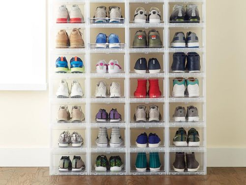 These clever $10 shoe boxes that open from the front solved my shoe storage nightmare