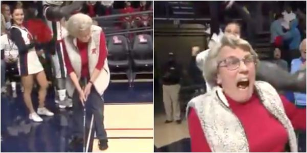 An 86-year-old woman sank an amazing 94-foot golf putt during a half-time college basketball competition to win herself a $25,000 car