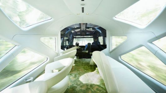 The forward observation lounge on the Shiki-Shima train from the East Japan Railway Company features