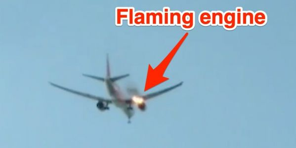 Video shows flames shooting from the engine of a Philippine Airlines Boeing 777 when it caught fire just minutes after takeoff