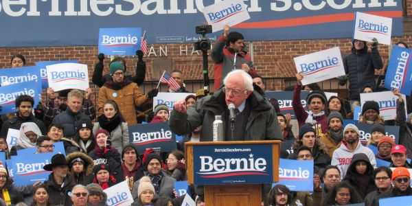 Bernie Sanders draws in huge, young, diverse crowd for first 2020 rally on a snowy day in Brooklyn